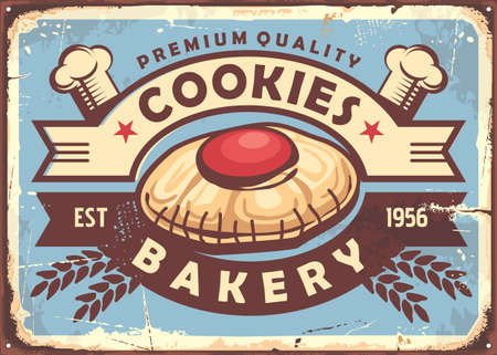 Cookies sign design in retro style. Illustration with big cookie in the middle on blue background and decorative ribbons. Vector vintage.