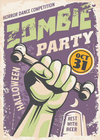Zombie party poster design in retro style made for cinema movies. Vector vintage.