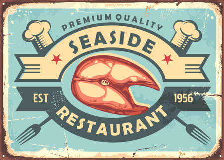 Seaside food sign in retro style made for restaurant or bistro. Vector vintage poster with fish filet. Seafood ad.