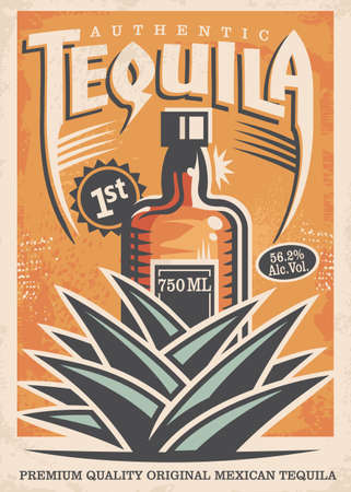 Tequila poster design with drink bottle and blue agave plant made for bars and pubs.