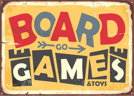 Board game design in retro style with yellow  and text in the middle of the picture. Stock Illustratie