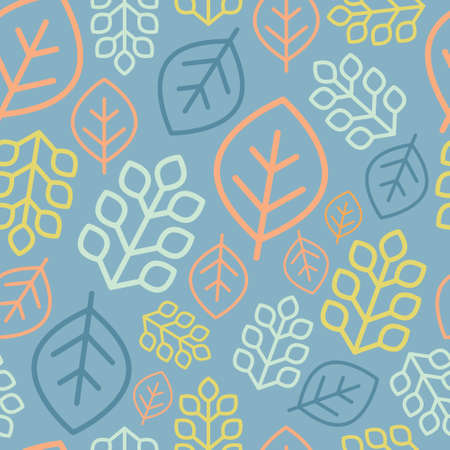 Seamless pattern with different plants and leaves. Vector illustration.