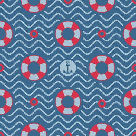Seamless vector pattern of anchor shape and sea wave lines. Endless texture for printing onto fabric, web page background and wrapping paper. Abstract retro nautical style.
