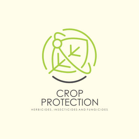 Crop protection logo with green leaf symbol in the middle of picture. Vector logotype sign for agricultural industry.