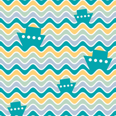 Seamless pattern design with boats and waves. Vector ship illustration. Stock Illustratie