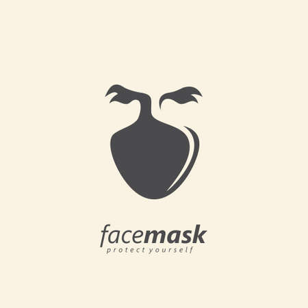 Face mask logo design for protection from corona virus. Creative symbol with human face protected by medical mask. Vector icon warning illustration. Stock Illustratie