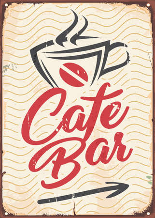 Cafe bar poster in retro style made for cafes, bars, pubs and restaurants. Vector sign board vintage illustration. Stock Illustratie