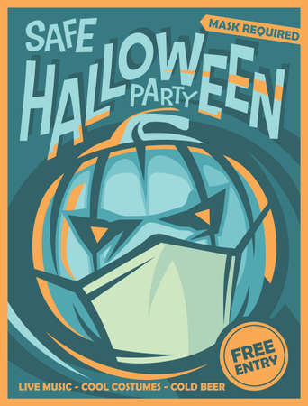 Halloween party poster design with big pumpkin wearing the covid mask. Vector holiday invitation image. Stock Illustratie