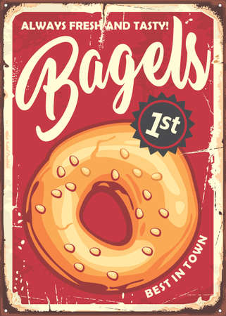 Bagel poster in retro style made for bakeries and pastries stores. Vector sign vintage illustration. Stock Illustratie