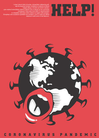 Corona virus conceptual poster design with earth symbol and red background. World screaming for help artistic flyer for protection from pandemic. Vector covid-19 illustration.