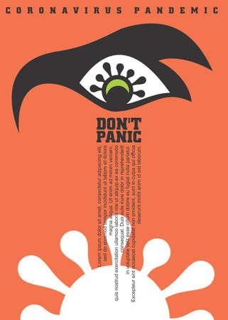 Fear and panic from coronavirus. Corona virus poster with orange background and eye symbol. Vector covid-19 illustration. Stock Illustratie