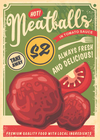 Meatballs flyer made for fast food restaurants. Poster with green background, meatballs, tomatoes, fork and text. Vector vintage illustration.