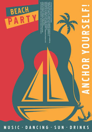 Sailboat poster design with big blue guitar symbol. Summer party vector illustration.