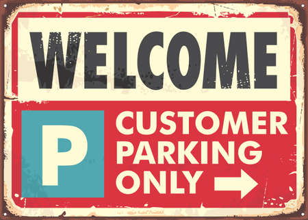 Parking sign design in retro style made for parking spots. Poster with big text and red background. Vector vintage traffic signboard illustration.