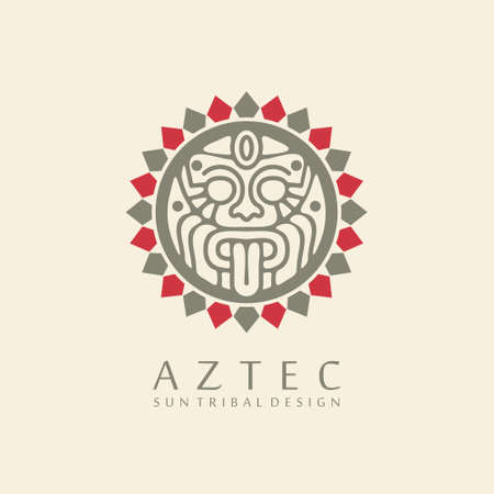 Aztec sun tribal logo design with white background and big sun symbol in the middle. Emblem with ancient idol.