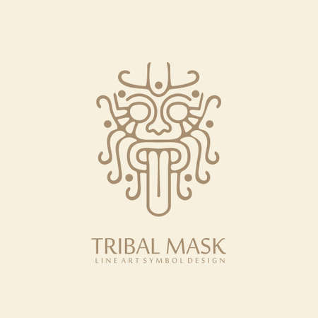 Myanmar tribal style line art symbol. Lion face logo design with stick out tongue. Traditional ancient tattoo drawing. Asian culture icon template. Stock Illustratie