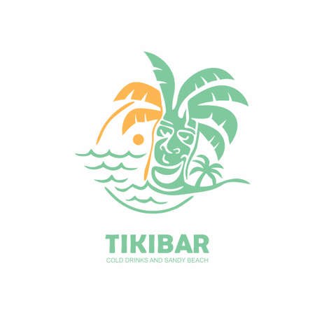 Tiki bar logo design with tiki mask on the beach. Emblem with island, palm tree, sea and sun in the background. Vector illustration.