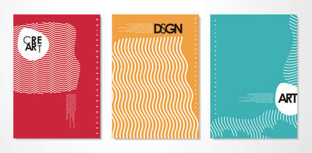 Abstract covers set - minimal banner design - simple line art vector layout