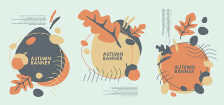 Autumn banner design for web or seasonal sale promotions with oak leaves, acorns and fall color palette. Vector advertisement illustration.