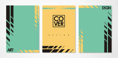 Abstract notebook templates with sharp geometric shapes. Yellow and mint green document layouts. minimalist vector illustration.