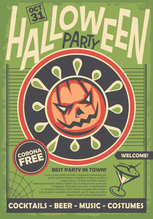Halloween party poster with pumpkin in the middle, green background and cocktail. Holiday invitation card. Vector illustration.