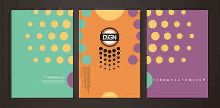 Abstract document design with halftone pattern. Colorful template for brochure or folder cover. Vector web banner illustration Stock Illustratie