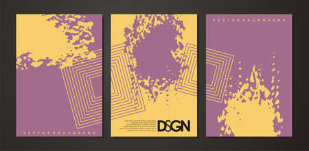 Purple stain on yellow background and abstract squares modern notebook cover design. Vector grunge brush shape. Stationery design layout idea. Stock Illustratie