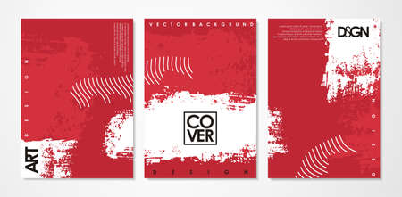 Artistic page design set with white brush texture on red background. Vector document illustration. Stock Illustratie