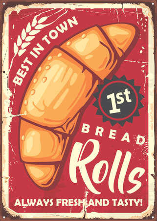Rolls poster sign design in retro style made for bakery.  Vector vintage image.
