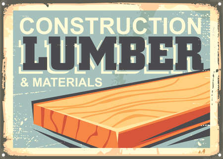 Construction lumber sign design in retro style. Poster with blue background and plank in the middle.