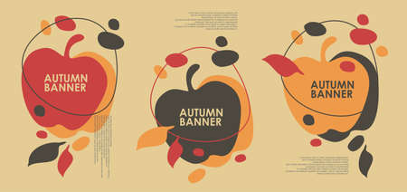 Autumn sales banner design with apple shape and falling leaves. Abstract vector background pattern. Stock Illustratie