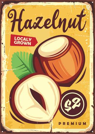 Hazelnut retro promotional poster design Stock Illustratie