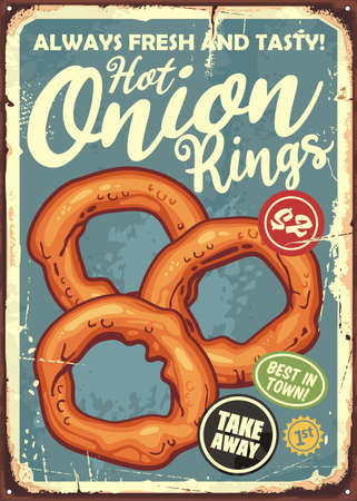 Fried onion rings retro fast food sign. Diner menu with tasty and crispy appetizer. Restaurant poster vector illustration. Stock Illustratie