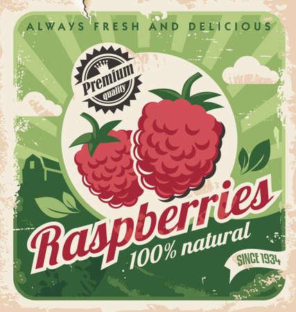 Raspberries farm retro poster design on old paper texture.