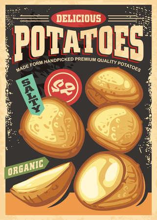 Baked potatoes retro poster design. Stock Illustratie