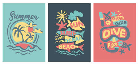 Summer graphics and vector designs Vectores
