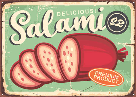 Salami vintage poster with green background. Vector illustration in retro style. Stock Illustratie