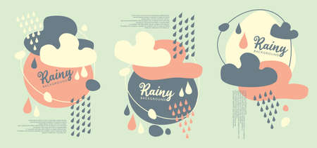 Abstract Autumn banner set for web or seasonal sale promotion. With rainy clouds and Autumn leaks. Vector illustration.