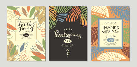 Thanksgiving day invitations and greeting cards collection with autumn floral shapes and leaves. Vector illustration.
