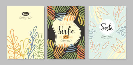 Sale banners, cards or poster designs collection. Autumn backgrounds with floral and nature pattern. Vector shopping and fashion illustration.