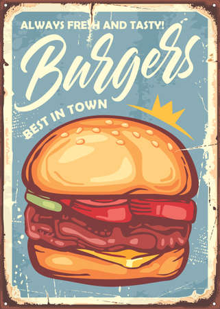 Burger sign design in retro style made for restaurants and fast food stores. Vector vintage illustration.