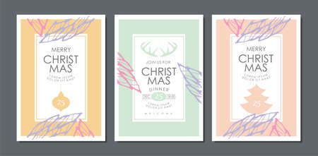 Christmas card or invitation floral classy design in pastel color palette. Vector decoration. Illustration