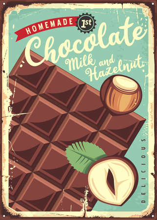 Chocolate with milk and hazelnut vintage metal sign