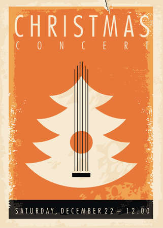 Christmas concert poster idea with Christmas tree and acoustic guitar. Holiday event musical flyer design. Vector music illustration.