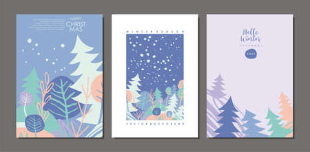 Winter landscape with snow, trees and pine forest. Card design concept. Seasonal vector cover template.