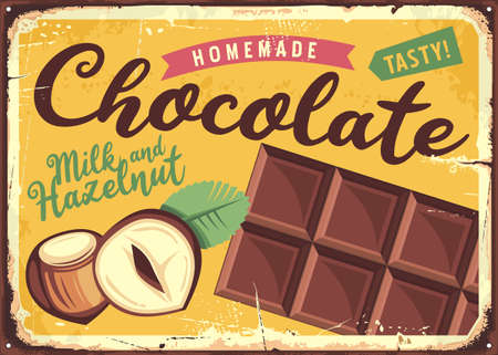 Chocolate vintage candy store sign. Retro advertisement with tasty homemade chocolate bar. Vector image.