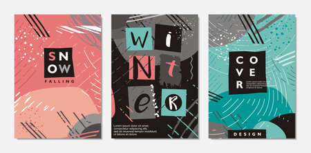 Abstract winter backgrounds . Creative cover templates with snow falling and different geometric shapes. Memphis style vector patterns. Vector Illustration
