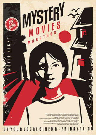 Girl followed by mysterious people artistic poster concept for cinema event. Mystery movies retro flyer design. Vector book cover idea.