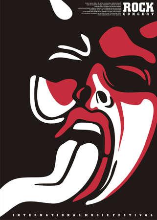 Poster design for rock concert with mocking devil face. Music festival flyer concept. Vector musical illustration.