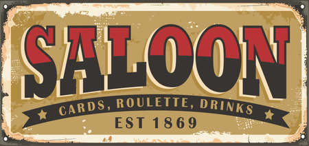 Old saloon sign design concept. Vintage wild west souvenirs and plates theme. Vector retro Americana.